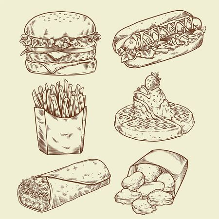 set of pen hand drawn of fast food collection