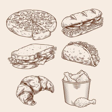 set of pen hand drawn of fast food
