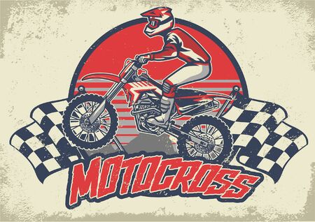 motocross design in vintage textured style