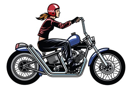 girl riding chopper motorcycle Vettoriali