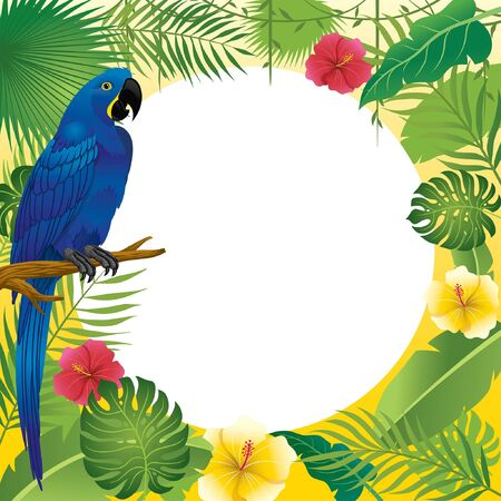 tropical frame design with leaves and the hyacinth macaw bird