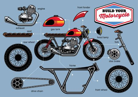 classic custom motorcycle with separated parts