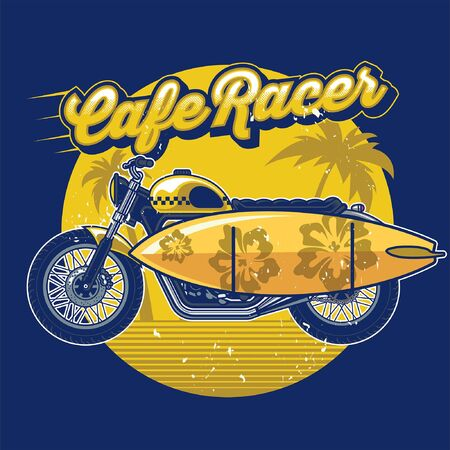 summer cafe racer motorcycle with surf board