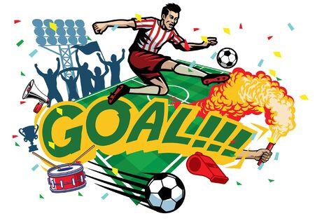 joueur de football donnant un coup de pied au ballon célébrant le but