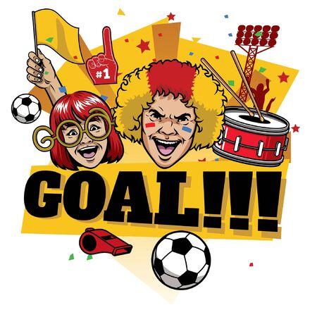 football soccer supporting celebrating goal Illustration