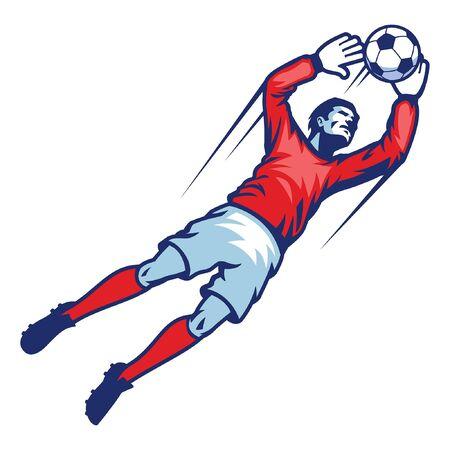 il portiere di calcio che salta prende la palla
