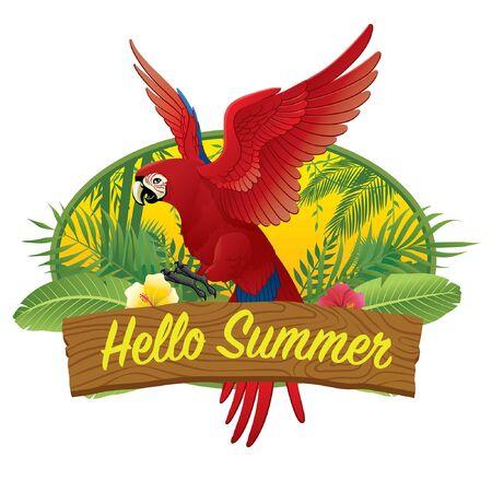 scarlet macaw bird in summer greeting design