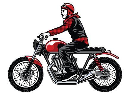 stylist motorcycle rider ride vintage motorbike  イラスト・ベクター素材