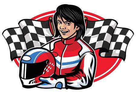 women car racer Illustration