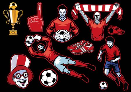 set object and people of soccer football concept