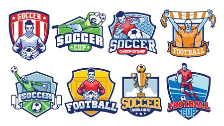 set bundle of soccer badge design 向量圖像