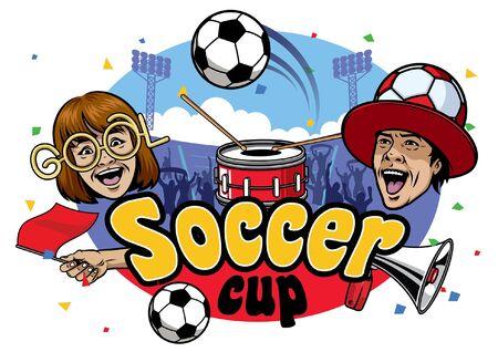 soccer game celebration design Illustration