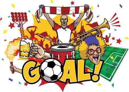 celebration design of goal soccer Illustration
