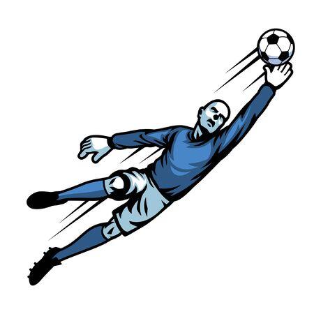 goalkeeper jumping to catch the ball Ilustração