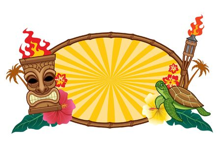 frame sign tropical tiki design  イラスト・ベクター素材