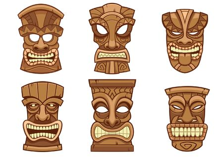 set collection of tiki mask design Ilustração