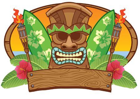 tiki tropical summer design 向量圖像