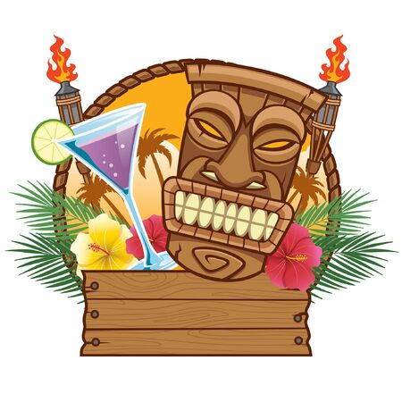 happy tropical tiki design with wooden blank sign
