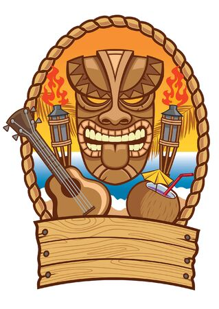 tiki mask inside the badge design