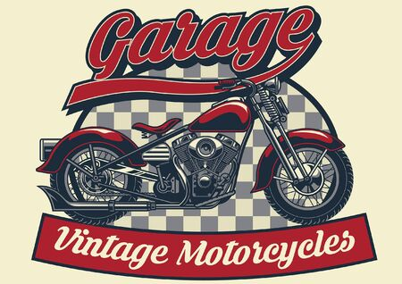 vintage t-shirt design of vintage motorcycle garage