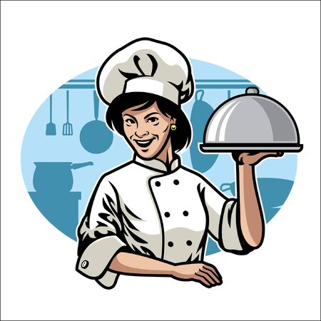 women chef at the kitchen Illustration
