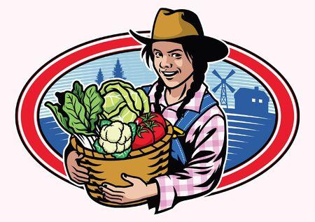 women farmer hold the bucket full of vegetables Illustration