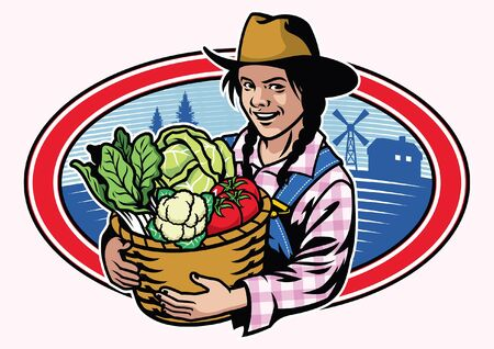 women farmer hold the bucket full of vegetables Ilustração