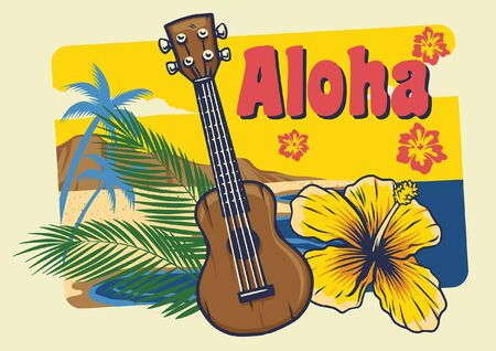 aloha greeting design with hawaiian ukulele in vintage style
