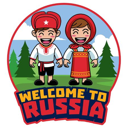 couple of kids wearing russian traditional dress
