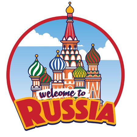 welcoming to russia design with russia landmark of st basil catedral Archivio Fotografico - 132917393