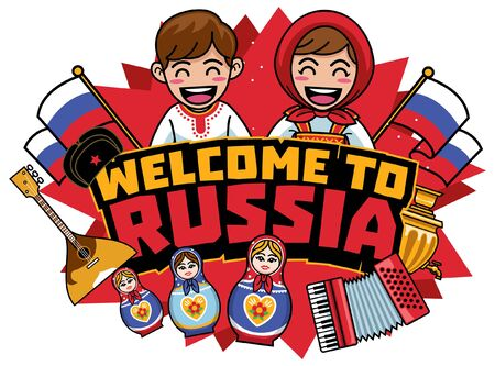 greeting welcome to russia cartoon style