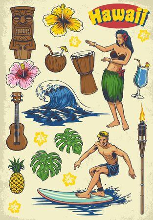 set bundle of vintage style of hawaii objects 일러스트