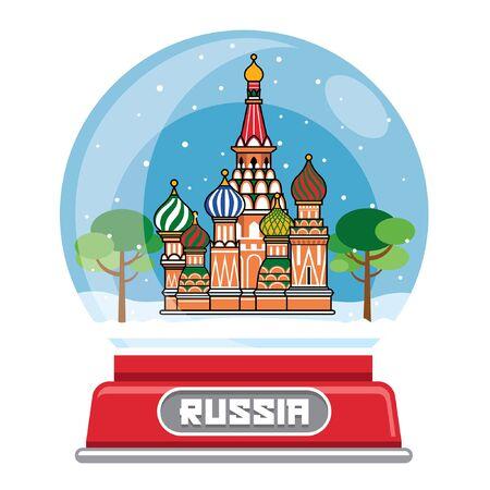 russian landmark inside the snow ball Illustration