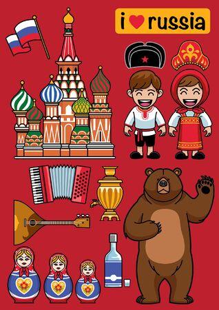 set cartoon bundle of russia objects