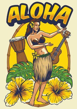 aloha design with hula dancer