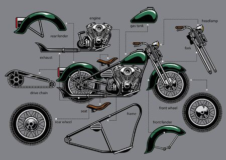 vintage motorcycle with separated parts  イラスト・ベクター素材