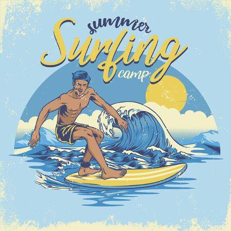 vintage design summer surfing with textured 일러스트