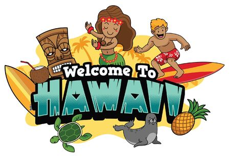 welcome to hawaii greeting design with some cartoon character Ilustrace