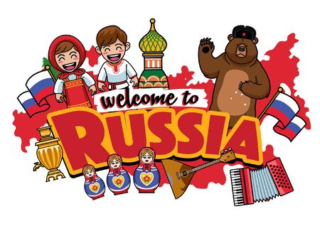 greeting welcome to russia with cartoon characters 向量圖像