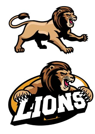 set of lion mascot Illustration