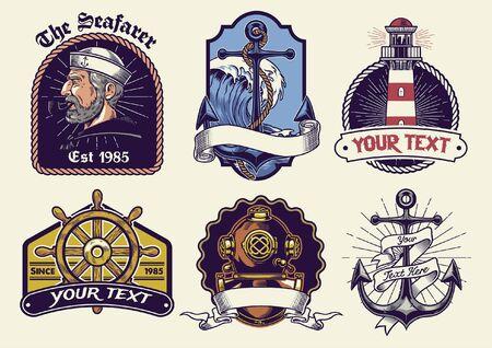 bundle set of vintage nautical design
