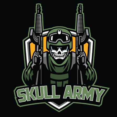 skull soldier army holding the rifles in badge