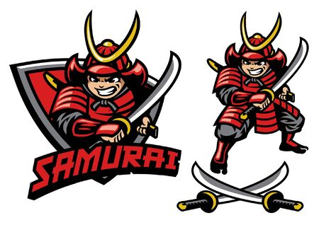 set of samurai cartoon mascot 向量圖像