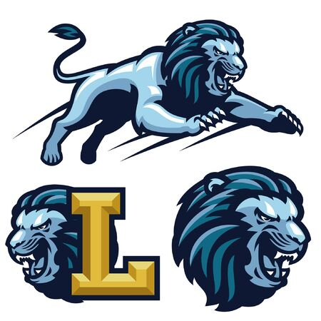 set bundle of lion sport mascot Illustration