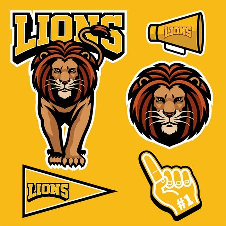 set bundle of lion mascot