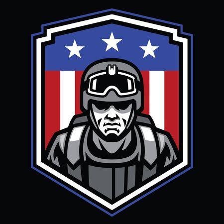 Armeesoldaten-Abzeichen-Design Vektorgrafik