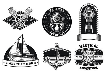set of nautical badge design