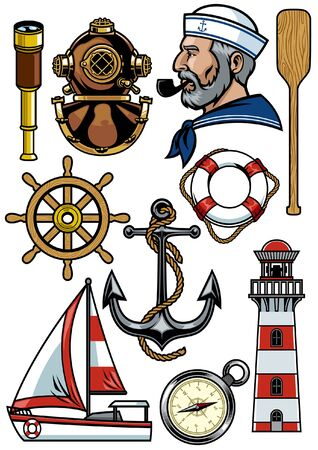 set of nautical marine object 向量圖像