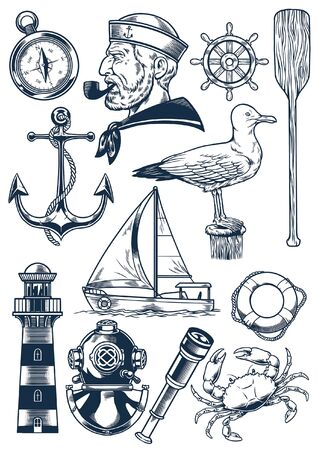 set of vintage nautical object in hand drawn style Illustration