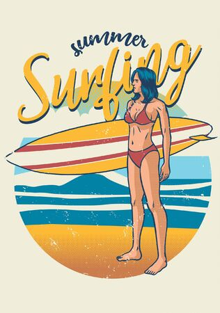 vintage girl of surfer holding the surfing board Illustration